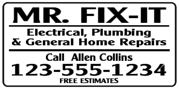 mr fix it plumbing sign layout