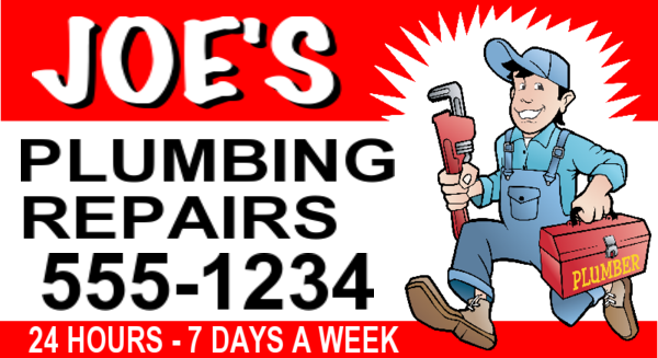 joes plumbing plumber sign layout