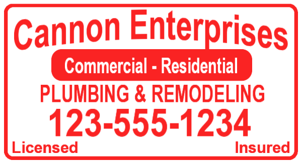 canon plumbing magnetic sign template