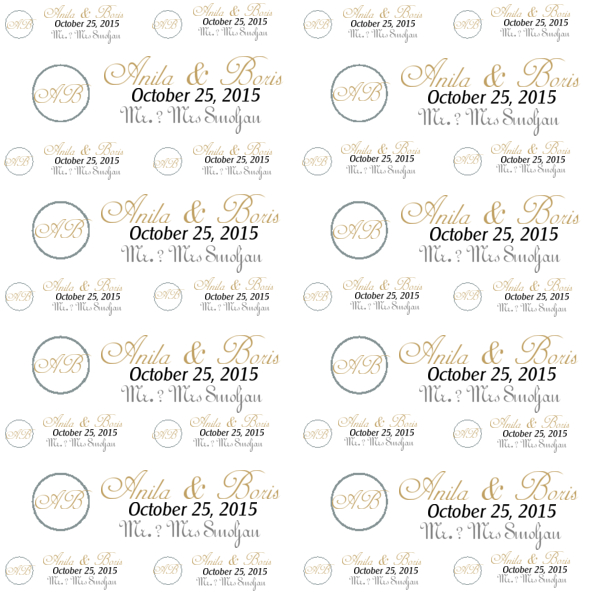 custom step and repeat banner design for wedding - Gold circle