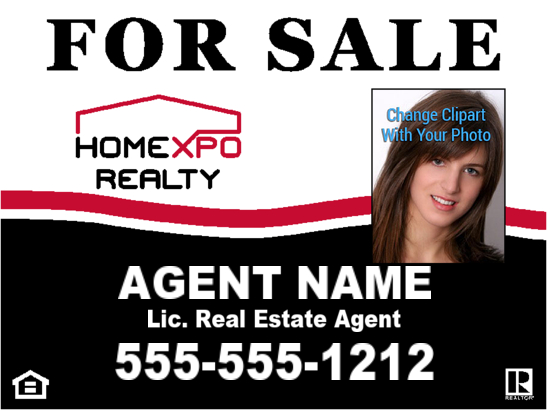 homexpo realty agent photo sign 24x18