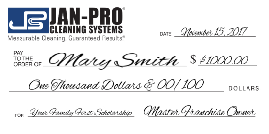 Jan-Pro big check image