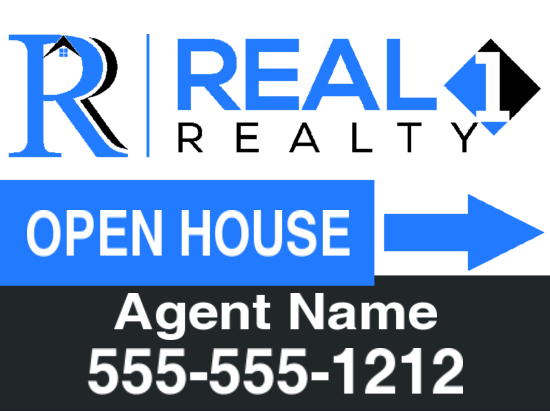 real 1 realty 24x18 directional sign
