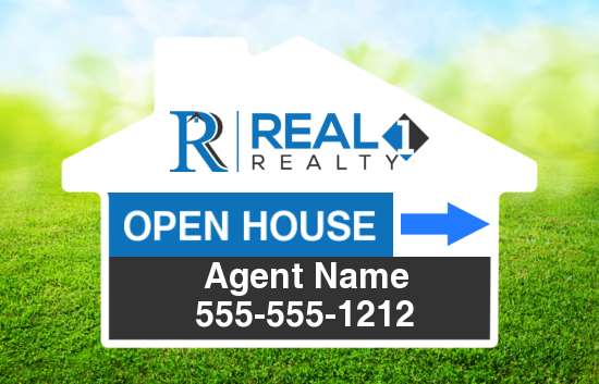 real 1 realty 24x18 directional sign house shape