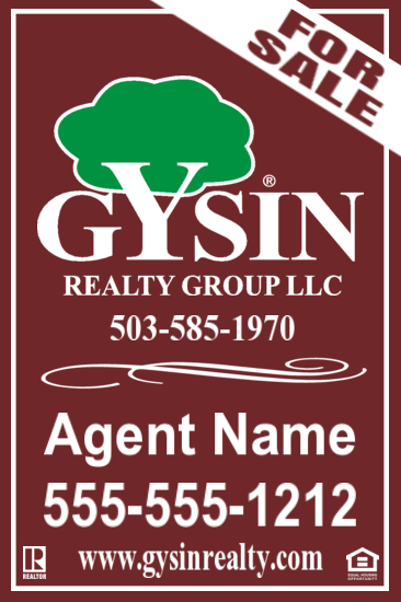 gysin realty agent sale sign 24x36