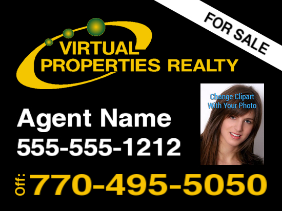 virtual properties sign black photo 24x18 image