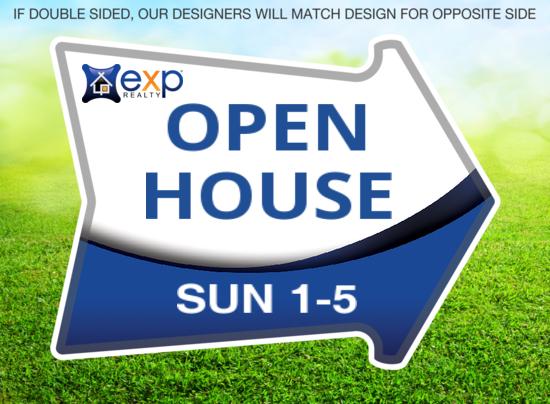 exp cut shape arrow open house 18x12
