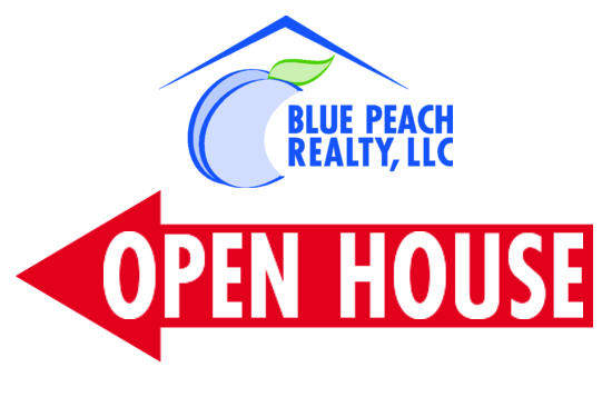 blue peach realty open house directional sign image